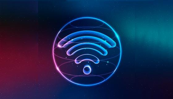 渐变霓虹灯wifi图标矢量素材(EPS)