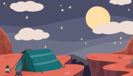 在山上搭帐篷露营矢量素材(AI/EPS)