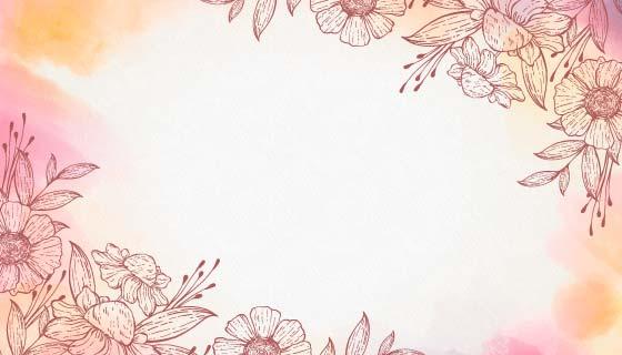 粉色水彩花卉背景矢量素材(AI/EPS)
