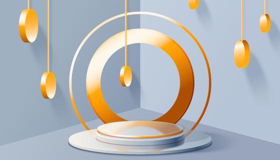 创意3D金色领奖台矢量素材(AI/EPS)