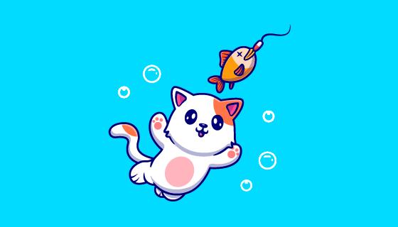 跳起来抓鱼的猫咪矢量素材(EPS)