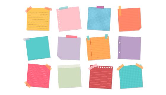 12个不同颜色和样式的便签矢量素材(EPS/PNG)