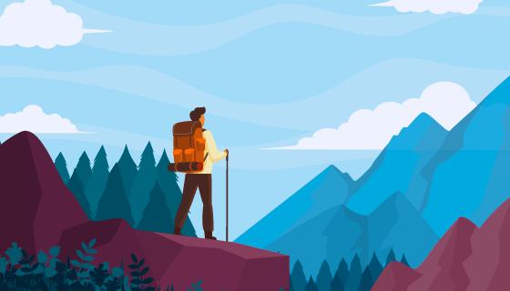 登山向远处眺望的男子矢量素材(AI/EPS)