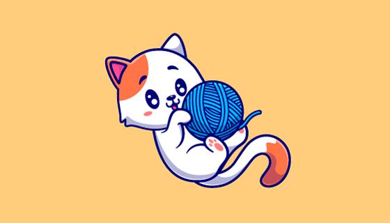 玩毛线的猫咪矢量素材(EPS)