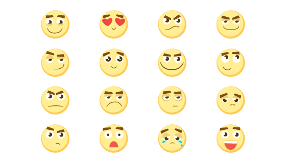 16个可爱表情的矢量素材(EPS/PNG)