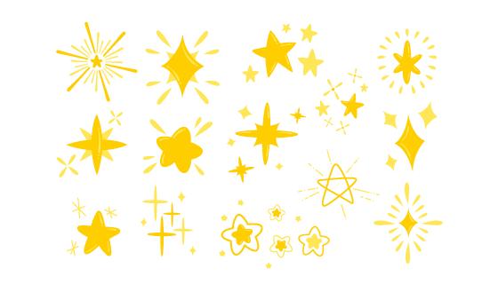 各种各样金色可爱的星星矢量素材(AI/EPS/PNG)