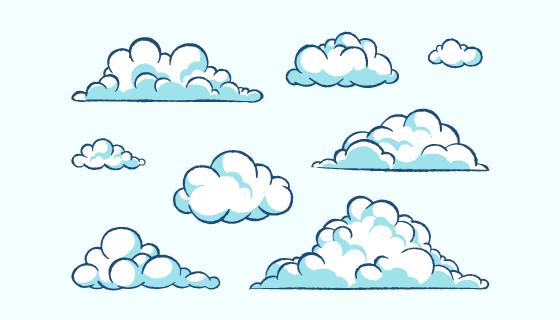 手绘风格的白云矢量素材(AI/EPS/PNG)