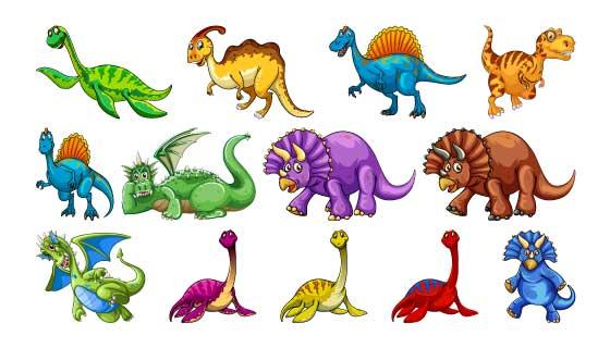 各种各样的卡通恐龙矢量素材(EPS/PNG)