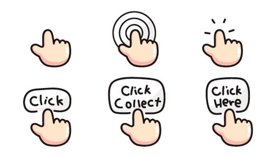 卡通风格点击触摸示意图矢量素材(EPS/PNG)