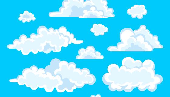 扁平风格的白云矢量素材(AI/EPS)