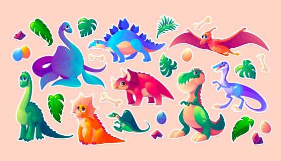 卡通风格的恐龙贴纸矢量素材(EPS/PNG)