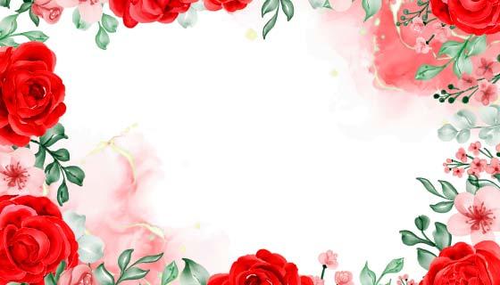 水彩画玫瑰花背景矢量素材(EPS)