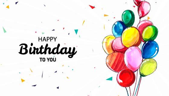 水彩气球生日快乐背景矢量素材(EPS)