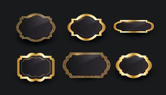 六个金色边框矢量素材(AI/EPS)