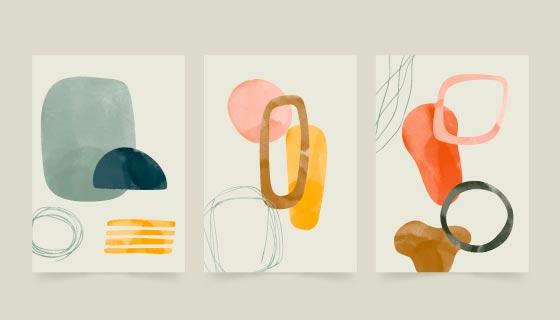 三张抽象风格的水彩封面矢量素材(AI/EPS)