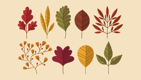 不同的秋叶矢量素材(AI/EPS/PNG)