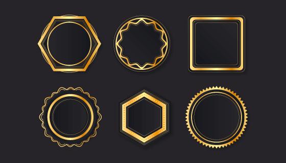 六个金色奢华的徽章矢量素材(AI/EPS)