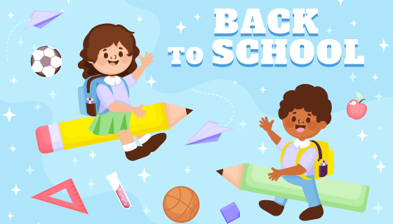 开心的小朋友设计开学返校背景矢量素材(AI/EPS)