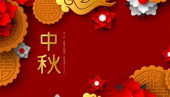 红红火火的中秋节背景矢量素材(EPS)