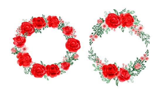漂亮的玫瑰花环矢量素材(EPS)