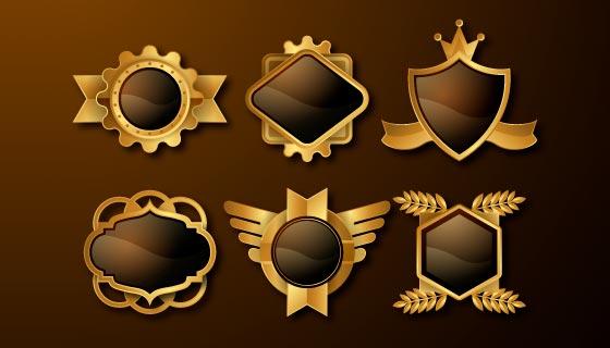 六个金色豪华的徽章矢量素材(AI/EPS)