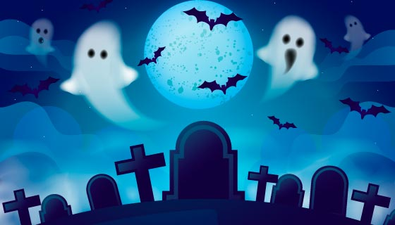 幽灵和墓地设计万圣节背景矢量素材(AI/EPS)