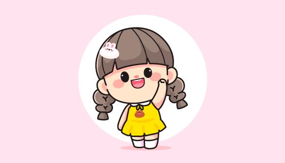 快乐可爱的小女孩矢量素材(EPS)