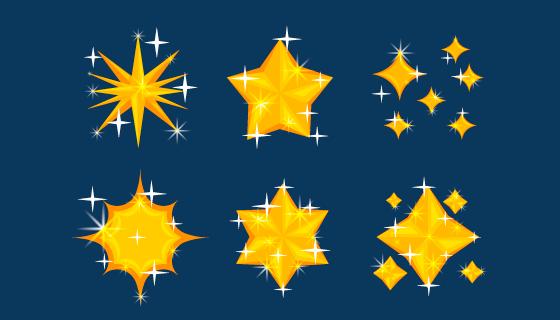 六个金光闪闪的星星矢量素材(AI/EPS)