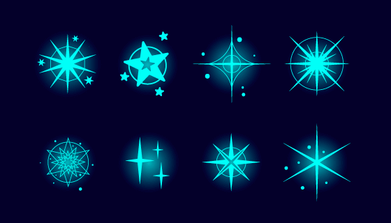 八个闪耀的星星矢量素材(AI/EPS/PNG)