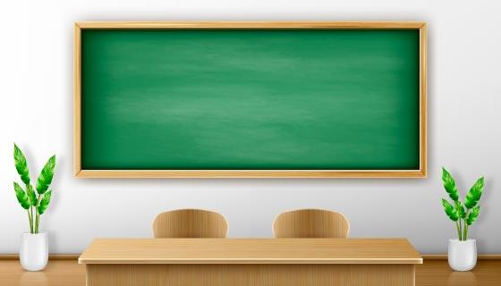绿色黑板和木质讲台矢量素材(EPS)