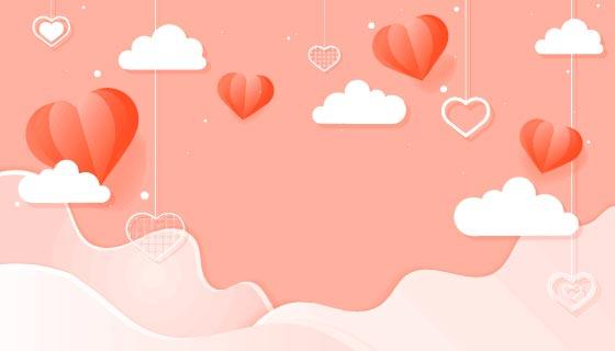 爱心吊坠设计情人节背景矢量素材(EPS)