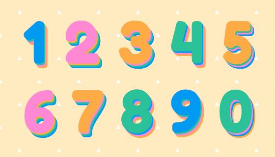 3D多彩的数字矢量素材(EPS/PNG)