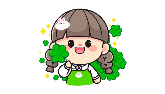 拿着绿叶的可爱小女孩矢量素材(EPS/PNG)