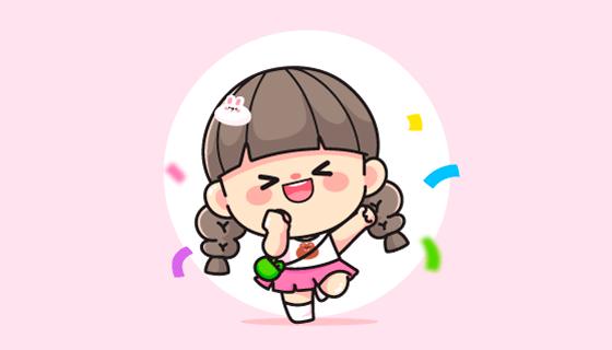 开心快乐的小女孩矢量素材(EPS)