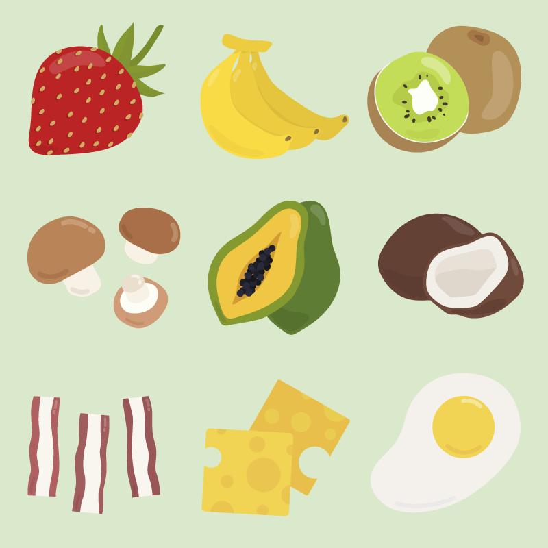 九种扁平风格的食物矢量素材(EPS/免扣PNG)
