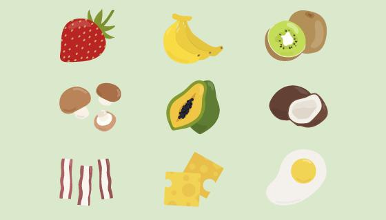 九种扁平风格的食物矢量素材(EPS/PNG)