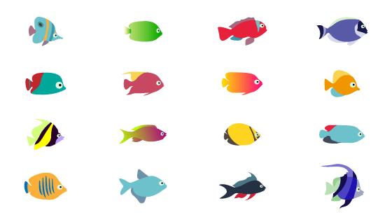16个扁平简单的鱼矢量素材(EPS/PNG)