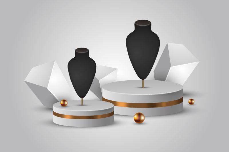 3D逼真的珠宝首饰展示架矢量素材(AI/EPS)
