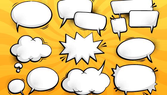 九个白色的漫画聊天气泡矢量素材(AI/EPS)